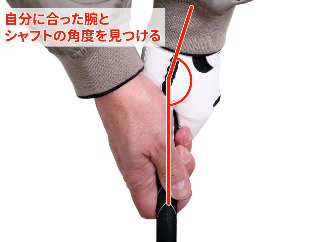腕とシャフトの角度を見つける
